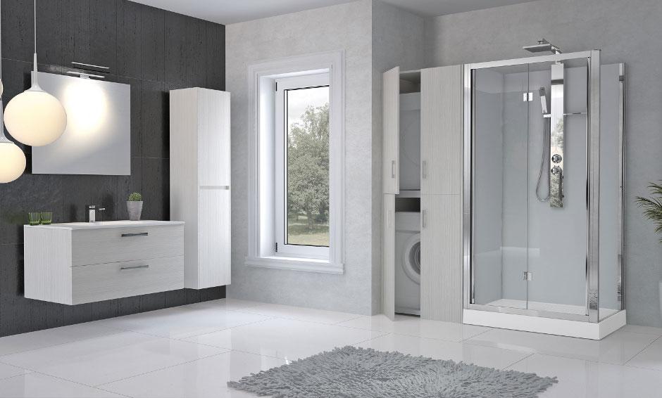 Doccia + mobile con alloggiamento per lavatrice e asciugatrice